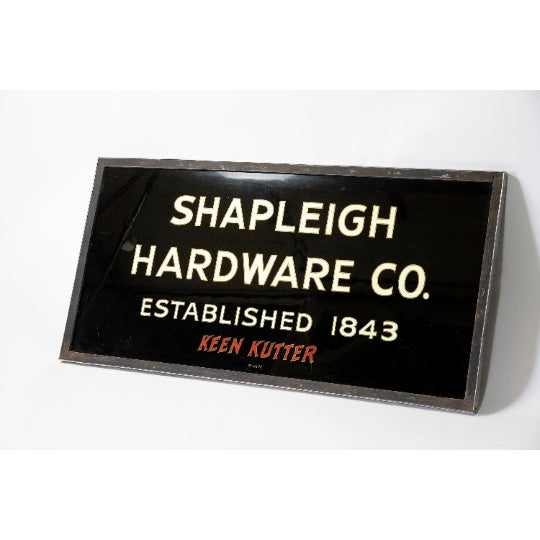 Glass 1900 Vintage Turn of the Century Gilded Reverse Painted Glass Trade Sign by Shapleigh Hardware Company For Sale - Image 7 of 7