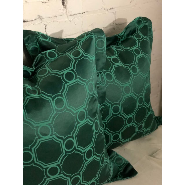 "24"" Square Pair of Jim Thompson Emerald Green Pillows in Asia Major For Sale - Image 4 of 9"