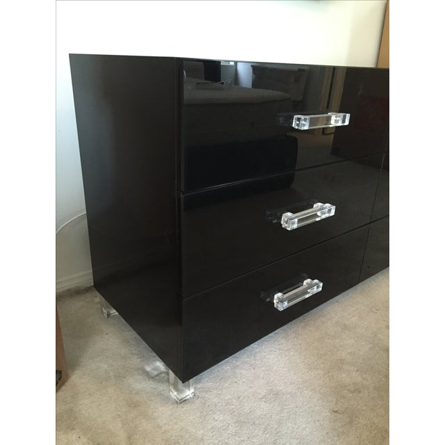 ModShop Black Glass & Lacquer 6-Drawer Dresser - Image 5 of 7
