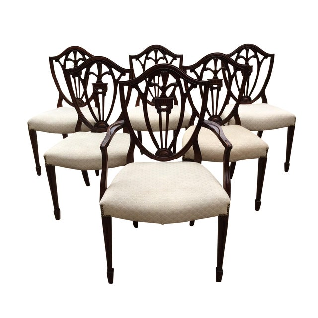 Hepplewhite Mahogany Shield Back Dining Chairs-S/6 - Image 1 of 10
