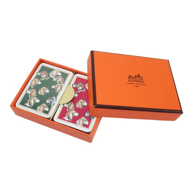 Hermès Mini Playing Cards With Hound Dog Motif For Sale