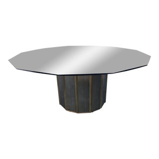 Mastercraft Brass Octagonal Shape Faceted Dining Table For Sale