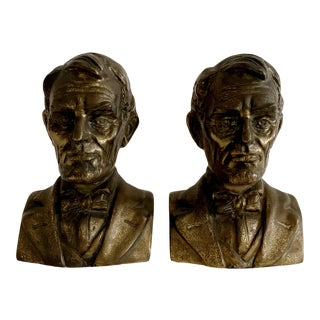 Mid Century Abraham Lincoln Bronze Bust - a Pair For Sale