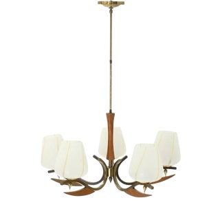 Mid-Century Modern Brass Art Glass Walnut Light Fixture For Sale