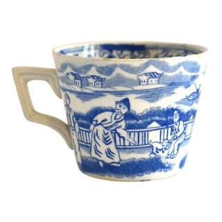 Antique 19th-Century Staffordshire Child's Blue & White Transferware Cup For Sale