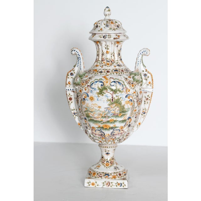 18th Century French Faience Lidded Urn For Sale - Image 4 of 11