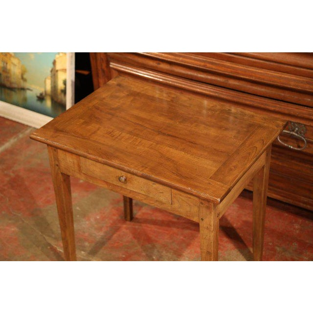 This Versatile Antique Fruitwood End Table Was Carved In The Poitou Region Of France