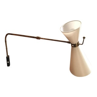 Vintage Articulating Brass With Linen Shade Sconce For Sale