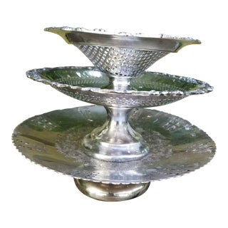 Victorian Silverplate Stack of Three Tazzas For Sale