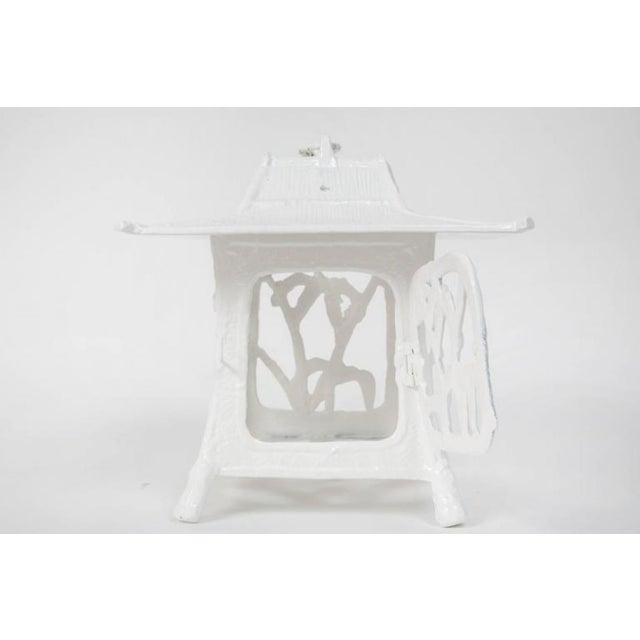 1960s 1960s Trio of White Lacquer Cast Iron Pagodas - Set of 3 For Sale - Image 5 of 7