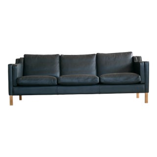 Danish Modern Børge Mogensen Model 2213 Style Sofa in Black Leather by Stouby For Sale