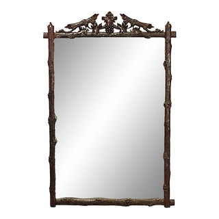 Rustic Black Forest Carved Wanut Wall Mirror For Sale