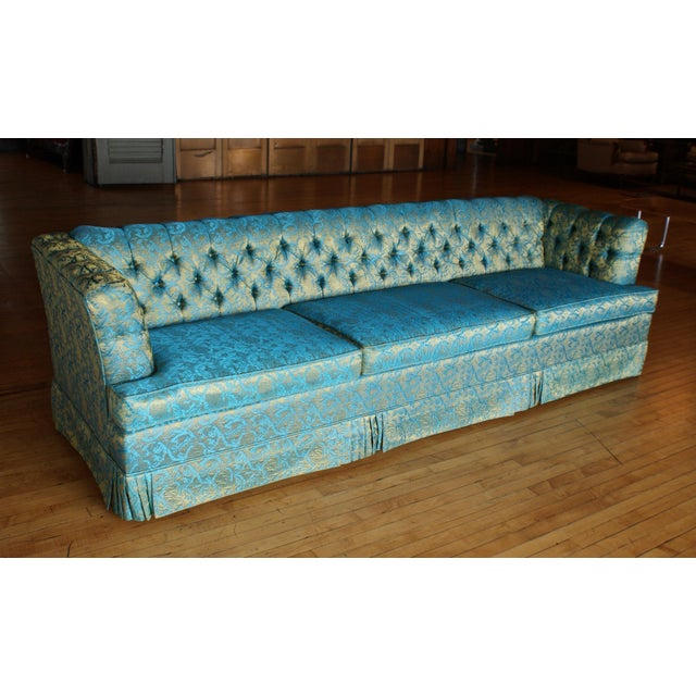 Hollywood Regency Blue and Gold Tufted Sofa by Howard Palmer for Harmony House For Sale - Image 3 of 11