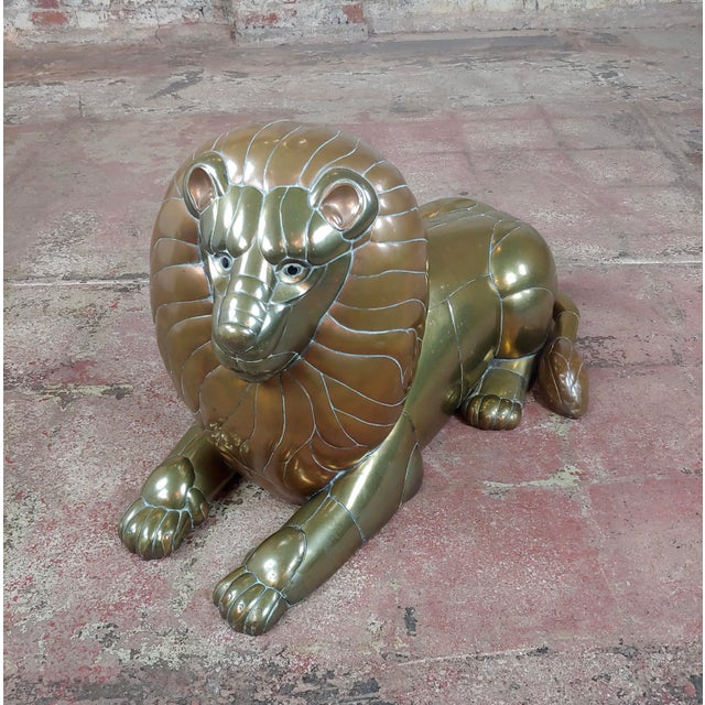 Sergio Bustamante Resting Lion Brass & Copper Sculpture For Sale In Los Angeles - Image 6 of 11