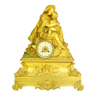 18th Century Antique French Bronze Sculpture Mantel Clock For Sale
