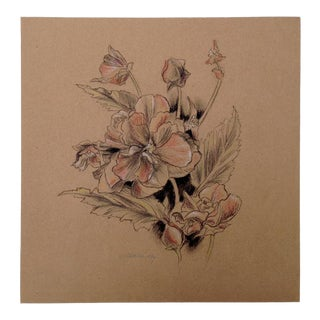 Floral II Drawing on Kraft, by Kathleen Ney For Sale