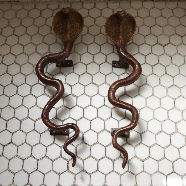Hollywood Regency Brass Cobra Door Handles- a Pair - Image 2 of 11