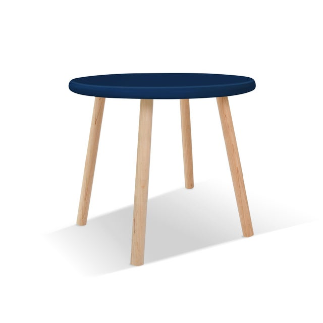"Contemporary Peewee Small Round 23.5"" Kids Table in Maple With Deep Blue Finish Accent For Sale - Image 3 of 3"
