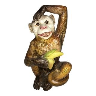Italian Porcelain Monkey With Banana Sculpture