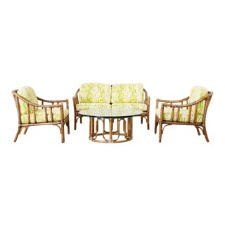 McGuire Settee, Armchairs, and Cocktail Table Living Room Suite For Sale