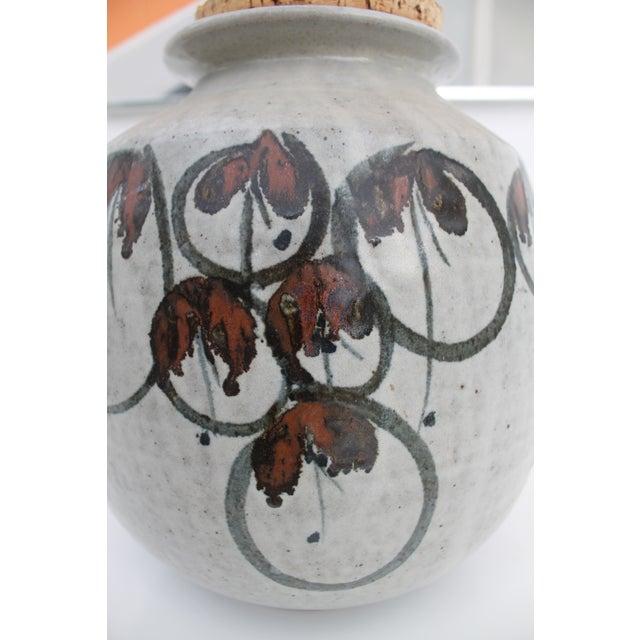 Vintage Studio Pottery Jar Vase & Cork Stopper For Sale - Image 4 of 9