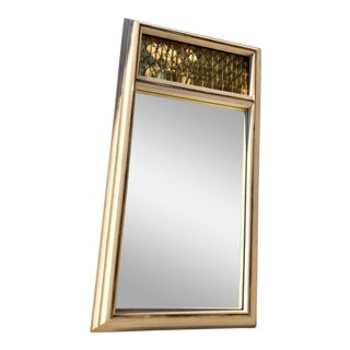 1970s Vintage Brass Trumeau Mirror For Sale