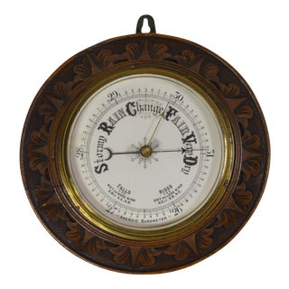 Vintage English Carved Oak Barometer