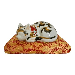 1920s Japanese Kutani Porcelain Sleeping Cat on Silk Pillow - a Pair For Sale