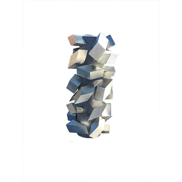Cubist Silver Leaf Sculpture by Maria Giansante For Sale - Image 4 of 6