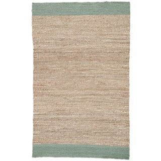 Jaipur Living Mallow Natural Bordered Tan & Blue Area Rug - 4' X 6' For Sale