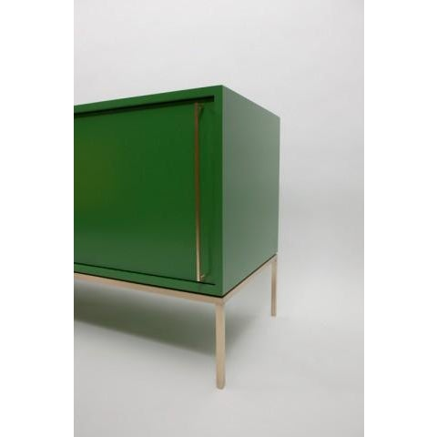 Contemporary Customizable Re: 379 Grass Green Lacquered Credenza on Brass base For Sale - Image 3 of 12