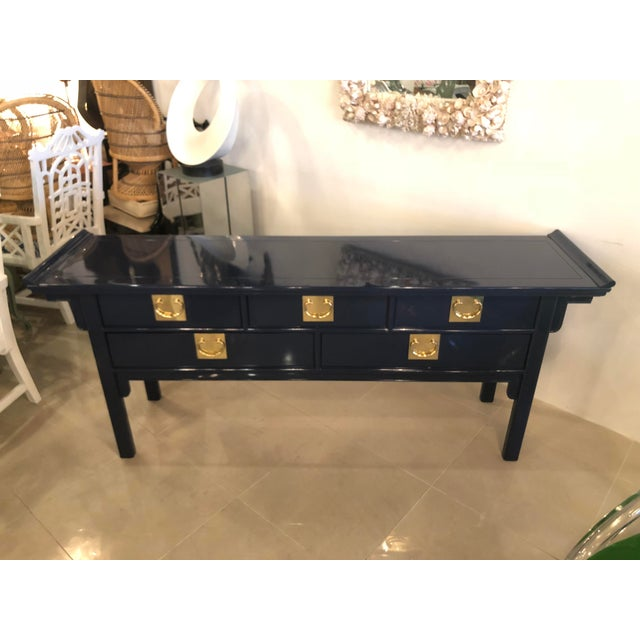 Vintage Century Furntiure Pagoda Navy Blue Lacquered Brass Hardware Console Table For Sale - Image 11 of 11