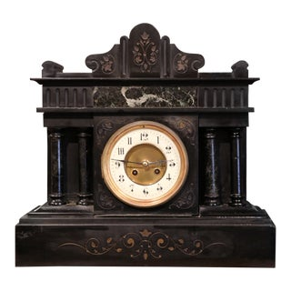 19th Century French Napoleon III Black and Green Marble Mantel Clock With Inlay