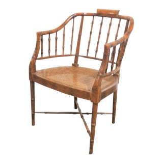 Regency Faux Bamboo Arm Chair For Sale