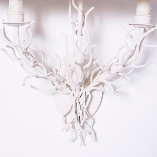 Mid 20th Century Midcentury Faux Coral Wall Sconces - A Pair For Sale - Image 5 of 8