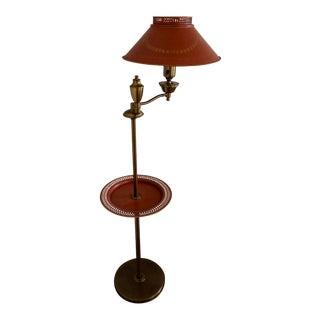 Vintage Mid-Century Brass & Orange Swing Arm Table Lamp For Sale