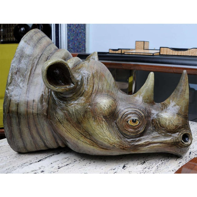 Gray Sergio Bustamante Wall Hung Rhino Head For Sale - Image 8 of 8