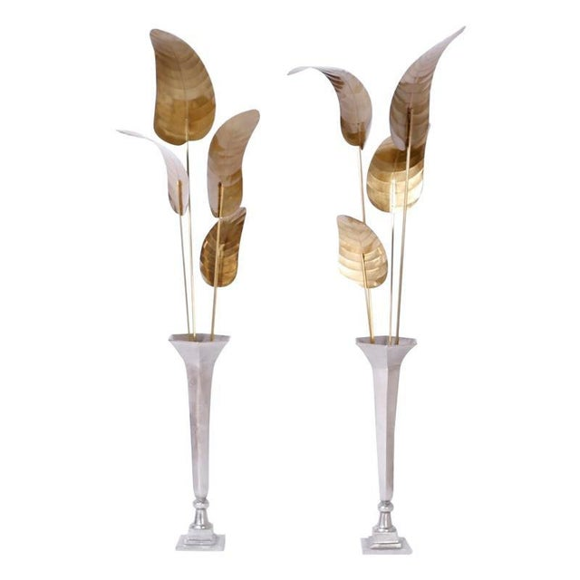 Tall Midcentury Palm Leaf Sculptures - A Pair For Sale - Image 10 of 10