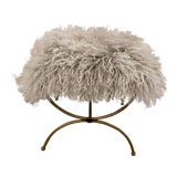 Image of Mongolian Mohair Vintage Vanity Stool For Sale