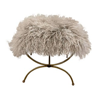 Mongolian Mohair Vintage Vanity Stool For Sale