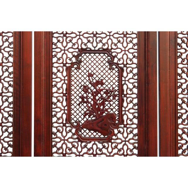 Chinese Reddish Brown Stain 4 Seasons Flower Wood Panel Floor Screen For Sale - Image 12 of 13