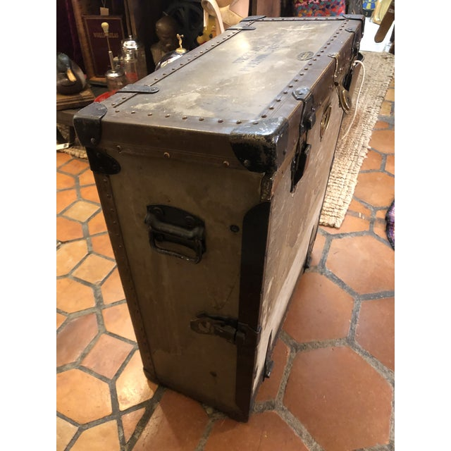 Gray Vintage Campaign Style Dental Field Desk End Table For Sale - Image 8 of 13