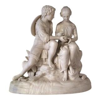 """Shepherd and Sheperdhess"" Porcelain Sculpture For Sale"