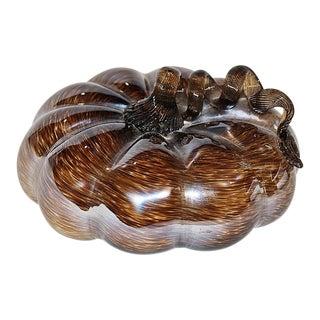 Hand-Blown Art-Glass Pumpkin Sculpture