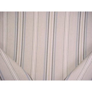Transitional Mulberry Home Blue / Sand Striped Drapery Upholstery Fabric - 2-1/8y For Sale