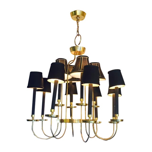 Mid-Century Italian Black & Brass Chandelier - Image 1 of 6