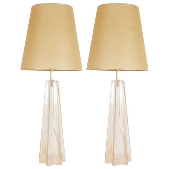 Modernist Hand Blown Murano Glass With 24-Karat Gold Flecks Table Lamps - a Pair For Sale