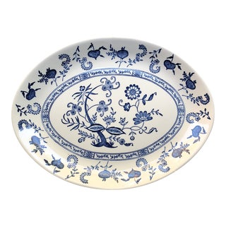 20th Century Chinoiserie Blue and White China Earthenware Oval Platter For Sale