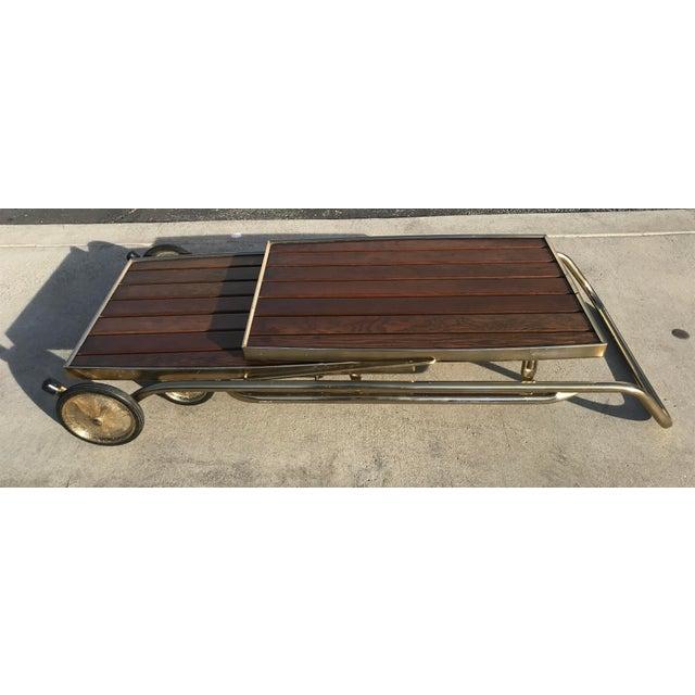 Mid-Century Wood Slat & Metal Rolling Bar Cart - Image 8 of 10