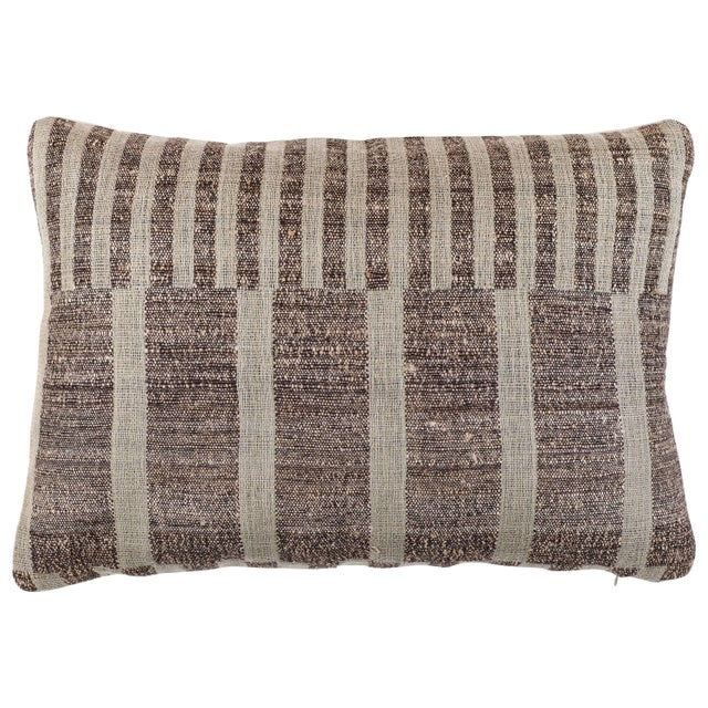 2010s Indian Handwoven Pillow Mondrain Check For Sale - Image 5 of 5
